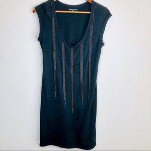 DKNY Jeans black T-shirt dress with beads & chains